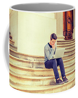 Coffee Mug featuring the photograph Young College Student Studying In New York 15042516 by Alexander Image