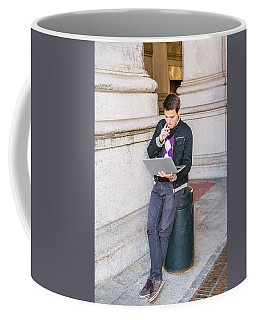 Coffee Mug featuring the photograph Young College Student Studying On Street In New York 15042520 by Alexander Image