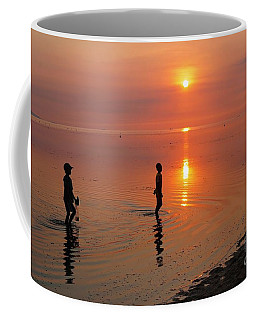 Young Fishermen At Sunset Coffee Mug