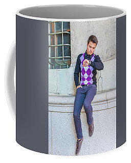 Coffee Mug featuring the photograph Young Man Casual Fashion In New York 15042518 by Alexander Image