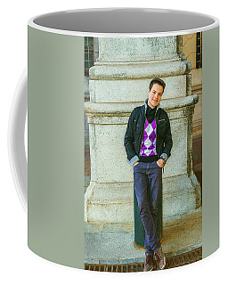 Coffee Mug featuring the photograph Young Man Casual Fashion In New York 15042519 by Alexander Image