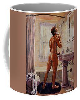 Young Man Shaving Coffee Mug