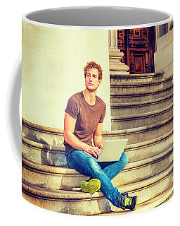 Young Man Working Outside In New York Coffee Mug