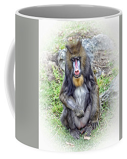 Coffee Mug featuring the photograph Young Mandrill Fade To White Version by Jim Fitzpatrick