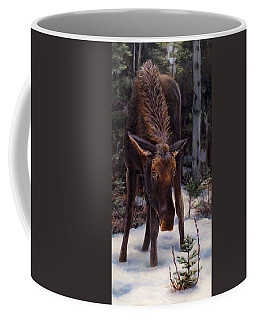 Young Moose And Pussy Willows Springtime In Alaska Wildlife Painting Coffee Mug