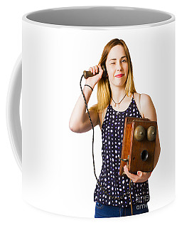 Coffee Mug featuring the photograph Young Telephonist Phoning Using Old Vintage Phone by Jorgo Photography - Wall Art Gallery
