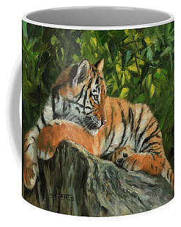 Coffee Mug featuring the painting Young Tiger Resting On Rock by David Stribbling