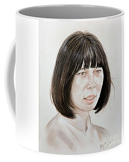 Coffee Mug featuring the mixed media Young Vietnamese Woman by Jim Fitzpatrick