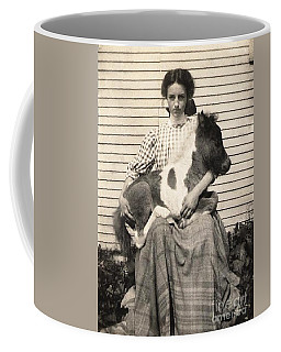 Coffee Mug featuring the photograph Young Woman Holding Her Pet Pony 1910 by Peter Gumaer Ogden