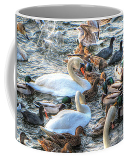 Coffee Mug featuring the pyrography Yury Bashkin Ducks Stockholm  by Yury Bashkin