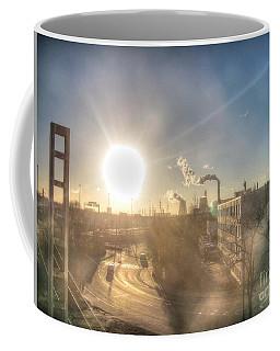 Coffee Mug featuring the pyrography Yury Bashkin Urban Sunset by Yury Bashkin
