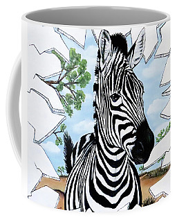 Coffee Mug featuring the painting Zany Zebra by Teresa Wing