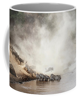 Zebra And Wildebeest Migration In Africa Coffee Mug