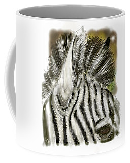Coffee Mug featuring the digital art Zebra Digital by Darren Cannell