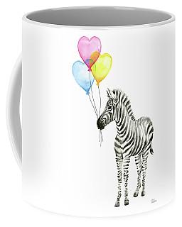 Baby Zebra Watercolor Animal With Balloons Coffee Mug