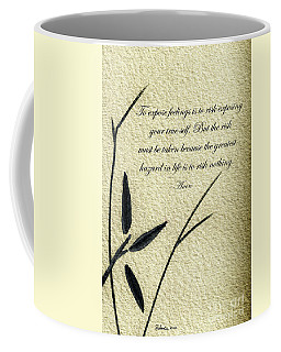 Zen Sumi 4m Antique Motivational Flower Ink On Watercolor Paper By Ricardos Coffee Mug