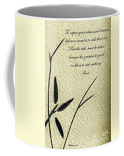Zen Sumi 4n Antique Motivational Flower Ink On Watercolor Paper By Ricardos Coffee Mug