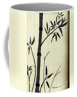 Zen Sumi Antique Bamboo 1a Black Ink On Fine Art Watercolor Paper By Ricardos Coffee Mug