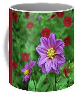 Coffee Mug featuring the photograph Zinnia With Red by Larry Bishop