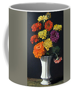 Zinnias Showing Their True Colors In White Vase Coffee Mug