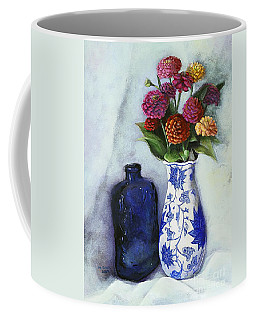 Zinnias With Blue Bottle Coffee Mug