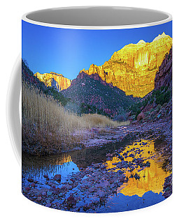 Zion The Sentinel And Altar Golden Sunrise Light Coffee Mug