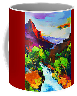 Coffee Mug featuring the painting Zion - The Watchman And The Virgin River by Elise Palmigiani