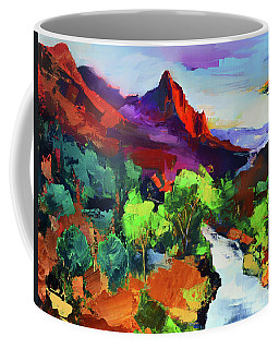 Coffee Mug featuring the painting Zion - The Watchman And The Virgin River Vista by Elise Palmigiani