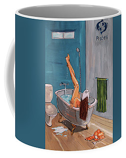 Coffee Mug featuring the painting Zodiac Series_ Pisces by Lazaro Hurtado