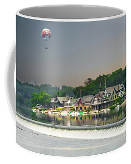 Coffee Mug featuring the photograph Zoo Balloon Flying Over Boathouse Row by Bill Cannon