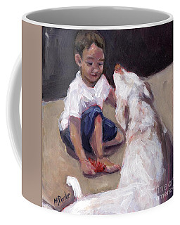 Coffee Mug featuring the painting Zoom Groom by Molly Poole
