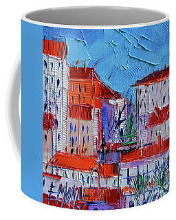 Zoom On Croix-rousse - Lyon France - Palette Knife Oil Painting By Mona Edulesco Coffee Mug