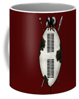 Zulu War Shield With Spear And Club On Red Velvet  Coffee Mug