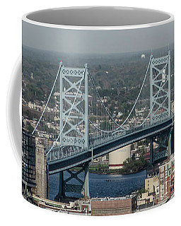 Coffee Mug featuring the photograph Benjamin Franklin Bridge Panorama by Bill Cannon