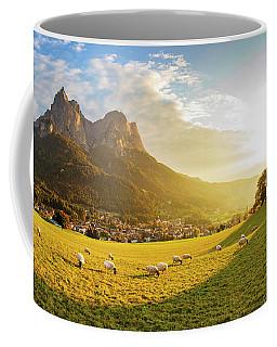 Black Head Sheep Graze By A Church In Alps Coffee Mug