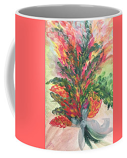 Coffee Mug featuring the painting Bouquet And Ribbon by Norma Duch