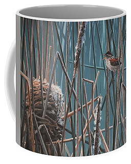 Coffee Mug featuring the painting Cattail Hideaway by Peter Mathios