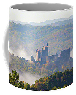Coffee Mug featuring the photograph Chateau Beynac In The Mist by Mark Shoolery