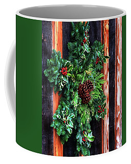Coffee Mug featuring the photograph Christmas Wreath 20474 by Jerry Sodorff