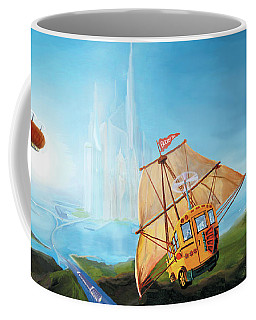 Coffee Mug featuring the painting City On The Sea by Donna Hall