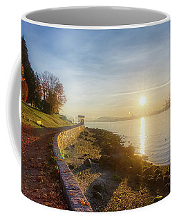 Coffee Mug featuring the photograph Colorful Autumn Sunrise At Stanley Park by Andy Konieczny