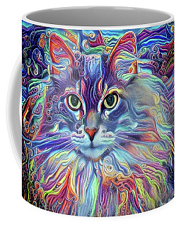 Colorful Long Haired Cat Art Coffee Mug