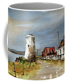 Coffee Mug featuring the painting Lighthouse On Inis Boffin, Galway by Val Byrne