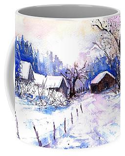 Mountain Village In Snow Coffee Mug