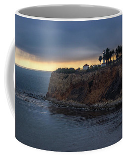 Coffee Mug featuring the photograph Point Vicente Lighthouse At Sunset by Andy Konieczny