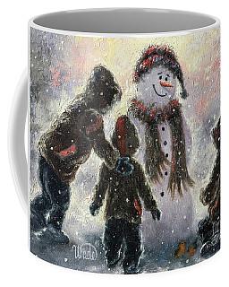 Snowman And Three Boys Coffee Mug