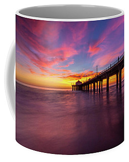 Stunning Sunset At Manhattan Beach Pier Coffee Mug