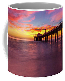 Coffee Mug featuring the photograph Stunning Sunset At Manhattan Beach Pier by Andy Konieczny