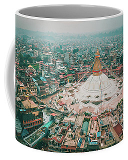 Stupa Temple Bodhnath Kathmandu, Nepal From Air October 12 2018 Coffee Mug