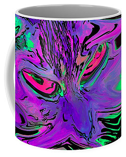 Coffee Mug featuring the digital art Super Duper Crazy Cat Purple by Don Northup